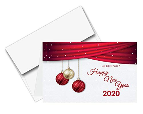 2020 Happy New Year Cards & Envelopes | Christmas, Holiday, Xmas, New Yrs Red Thank You Greeting Card Set - 25 Half Fold Cards & A6 Envelopes | 4.5 x 6 Inches (Square Chinese Red Envelopes)