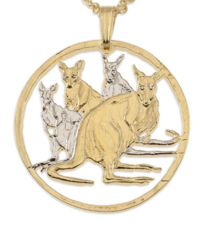 The Difference World Coin Jewelry Auatralian Kangaroo Pendant & Necklace, Hand Cut from Australian Commemorative