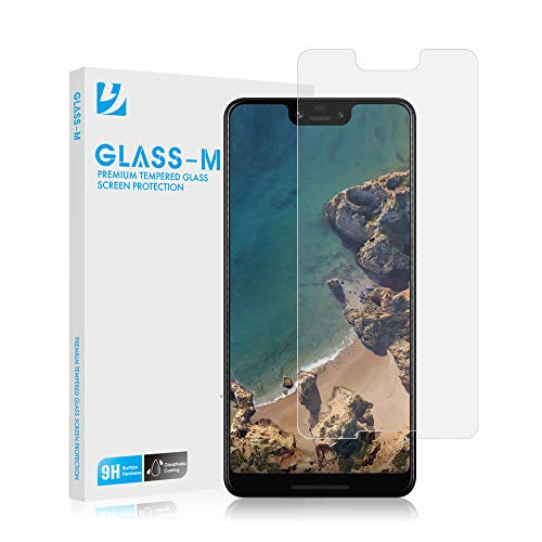 GLASS-M Google Pixel 3 XL Tempered Glass Screen Protector, Ultra Clear, Scratch Resistant, Bubble Free, Anti-Fingerprint Screen Protector Film, 9H Hardness, Case Compatible Premium Protection Shield