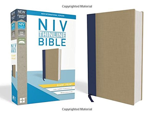 Read Online NIV, Thinline Bible, Giant Print, Cloth over Board, Blue/Tan, Red Letter Edition, Comfort Print pdf