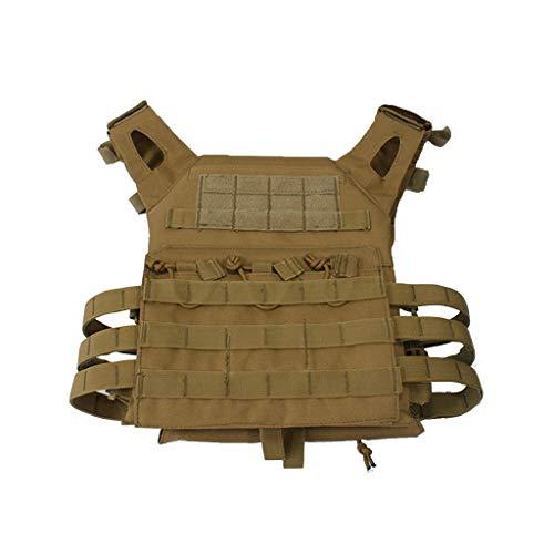 (BYHai Tactical CS Field Assault Vest Law Enforcement Breathable Combat Training Vest Nylon Adjustable for Unisex Adults (Mud))