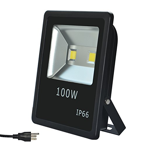 RSN LED Security Flood Light Light 100W COB LED Spotlight 6000K Cool White Color AC85-265V Aluminum Alloy IP65 Waterproof with 120 Degree 2 Years Warranty by RSN LED