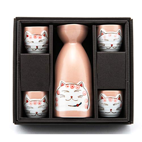 The Elixir 5 Pieces Ceramic Pottery Japanese Hot Cold Sake Set One Bottle 4 Cups in Gift Box, Porcelain Ceramic Sake Set for Home Use or Deco, Microwave and Dishwasher Safe, Cute Cat