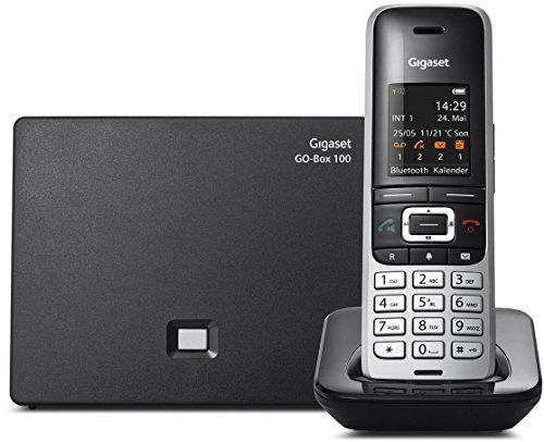 Gigaset S850A GO Hybrid-Dect-Schnurlostelefon (analog und VoIP (ALL-IP), mit Anrufbeantworter) schwarz/platin