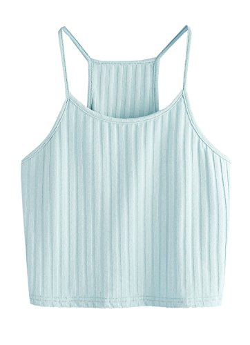 Shein Womens Summer Basic Sexy Strappy Sleeveless Racerback Crop Top Small Light Blue