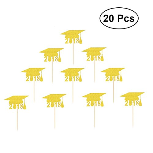 JANOU 20pcs Graduation Cap 2018 Cupcake Toppers Cake Toppers Toothpicks Cake Decoration for Graduation Party - For Wood Toppers Picks Cupcake