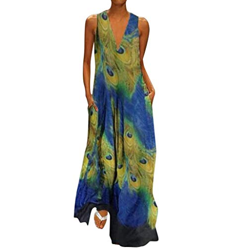 (Women's Vintage  Bohemian Floral Sleeveless V-Neck Dress Feather Print Maxi Long Dress)