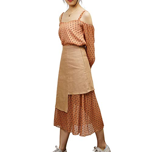 Womens Chiffon 2 Piece Outfit Floral Linen Midi Skirt + Chiffon Off Shoulder Crop Tops Summer Casual for Juniors (Brown, Small)