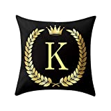 Letter Pillow Case Covers Bronzing Throw Pillow Case 18x18'' English Alphabets Cushion Cover Modern Square Pillowcase for Home Sofa Couch Decor (K)