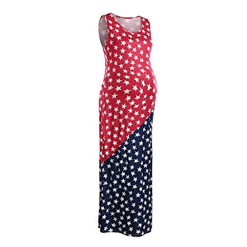 Huifa Women Maternity Sundress SleevelessAmerican Flag 4th of July Pregnancy Dress (Red,XL) by Huifa Maternity Dresses (Image #1)