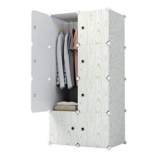 KOUSI Portable Closet Wardrobe Closets Clothes Wardrobe Bedroom Armoire Storage Organizer with Doors, Capacious,Sturdy, 5 Cubes 1 Hanging Clothes (Closet Doors Wardrobe)