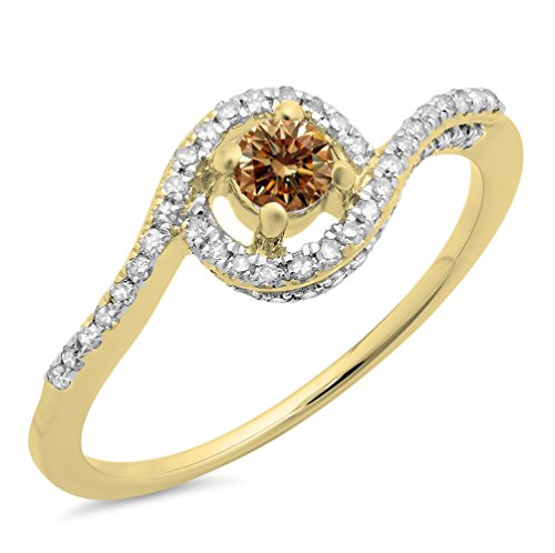 Dazzlingrock Collection 0.50 Carat (ctw) 14K White & Champagne Diamond Twisted Swirl Halo Ring 1/2 CT, Yellow Gold, Size 6