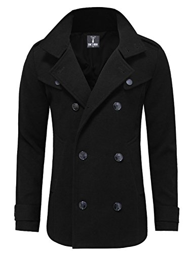 Tom's Ware Mens Stylish Fashion Classic Wool Double Breasted Pea Coat TWCC06-BLACK-US ()