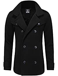 Mens Stylish Fashion Classic Wool Double Breasted Pea Coat