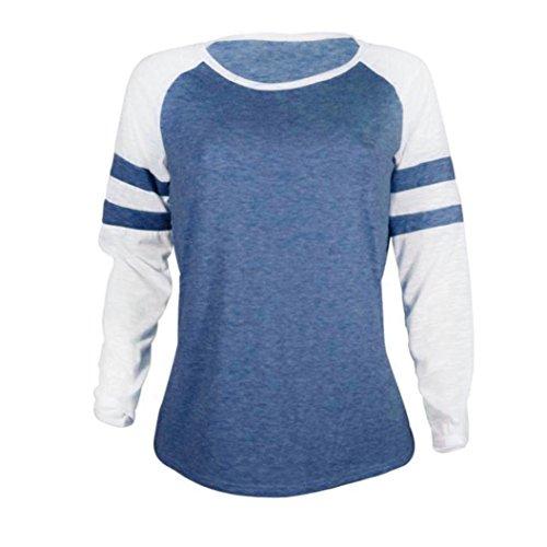 Larga Tops SeñOras AmazingDays Empalme Camiseta Moda Púrpura De Manga Ropa wqOBYq6XxW