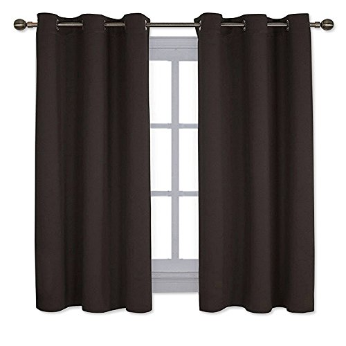 - NICETOWN Triple Weave Microfiber Energy Saving Thermal Insulated Solid Grommet Blackout Curtains for Bedroom (One Pair,42 Inch by 63 Inch,Toffee Brown)