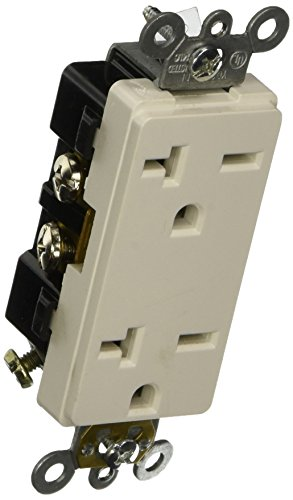 Morris 82221 Industrial Grade Decorative Duplex Receptacle, 20 Amp Current, 250V, White - Decorative Duplex Receptacle