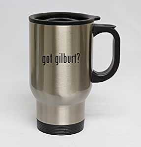14oz Stainless Steel Silver Travel Mug - got gilburt?