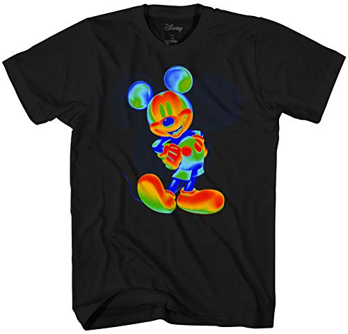 Disney Mickey Mouse Wild Colors Men's Adult Graphic Tee T-Shirt (Black, Large)