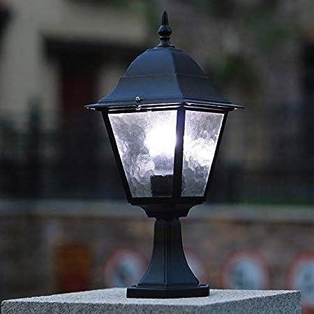 HLR Farolas Jardín Al Aire Libre de Pedestal Retro de la lámpara E27 del césped del jardín Linterna Patio Pilar iluminación IP54 a Prueba de Agua Lámparas Path Valla Villa Balcón: Amazon.es: