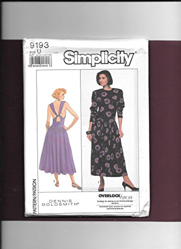 Simplicity 9193 Sewing Pattern for Stunning Back Interest Stretch Knits Drop Waist Dress with Halter Style Shoulder Strap Through Wide Waist Loop for Criss-cross Effect and Attached Gathered Skirt , - Drop Halter