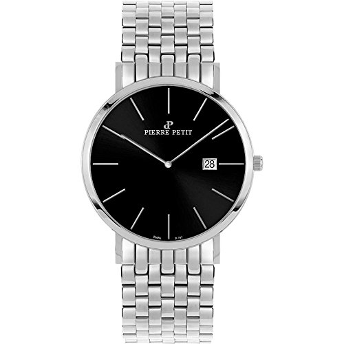 Pierre Petit Men's P-787E Serie Nizza Black Dial Stainless-Steel Date Watch