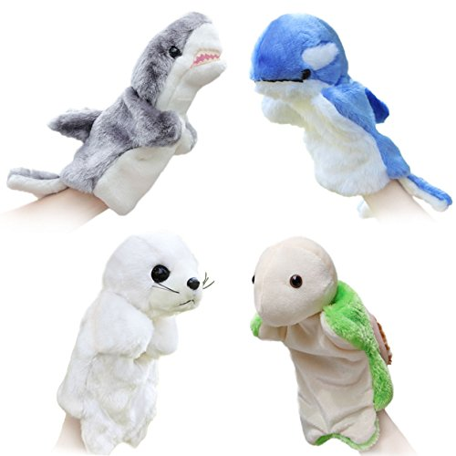 Merveilleux 4pcs Animal Hand Puppets for Kids Plush Toys Storytelling Game Props Interactive Toys--Sea Animals