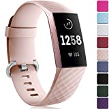Maledan Compatible with Fitbit Charge 3 Bands for Women Men Large Small, Soft Sport Watch Strap Replacement Wristband Accessories