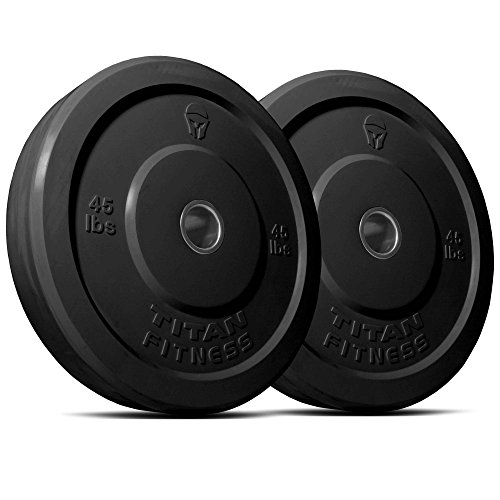 Titan 260 lb Set of Olympic Bumper Plates Benchpress Strength Training Power Black