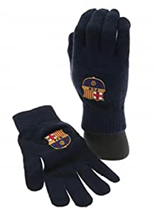 FC Barcelona Black Gloves - Knitted Adult Size - Black - Great for Men, Women and Kids - One Size Fits Most - FC Barcelona Soccer Fan Gear