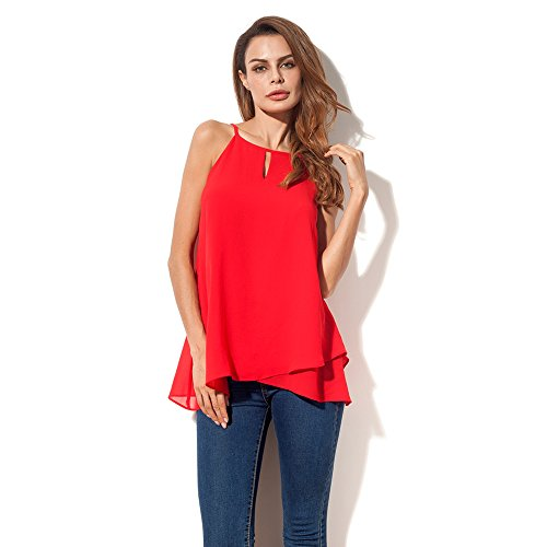 Nordicwinds Women's Sexy Chiffon Camisole Tank Top Summer Casual Loose Blouse Red