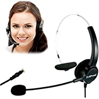 TRIPROC 4-Pin RJ9 Hands-free Call Center Corded Monaural Telephone Headset with Noise Cancelling Microphone and Adapter Compatible with Plantronic,Avaya,Grandstream,Aastra,Jabra