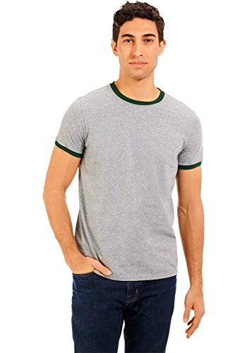 - Russell Athletic Men's Essential Cotton Ringer T-Shirt, Oxford/Dark Green, Large