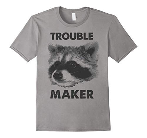 Mens Trouble Maker Big Raccoon Face Black & White Graphic T-Shirt Large Slate