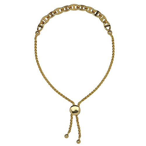 14kt Yellow Gold Flat Mariner Bolo Adjustable Bracelet (14kt Gold Flat Mariner Bracelet)