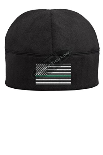 bc2c22863a9 Thin Green Line American Flag Military Federal Agent BLACK Skull Hat Cap  Fleece Beenie