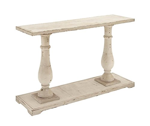 Deco 79 Rectangular Antique White Wood Console Table With Carved Base, 48