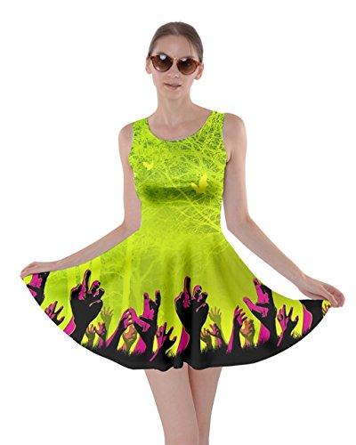 CowCow Womens Zombie Green Halloween Bats Skater Dress, Green - XS]()