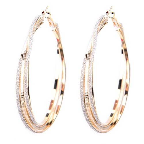 JUNKE Vogue Large Round Crystal Earring Hoop Big Circle Earrings Eardrop for Women Girls, Gold-tone, 2.16