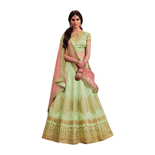 Liril Green Silk Wedding Stylish Blouse Work Lehenga Chaniya Choli Party Net Dupatta Muslim Women Festival 7363
