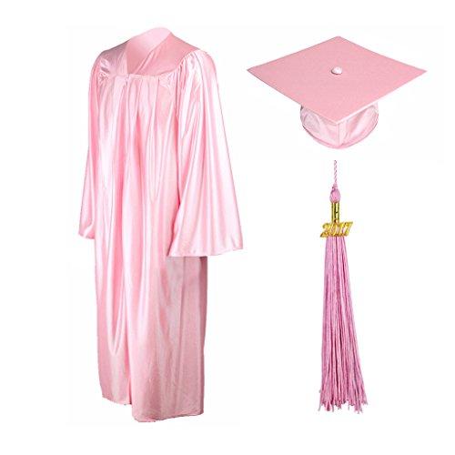 GraduationMall Shiny Graduation Gown Cap Tassel Set 2018 For High School Pink 48(5'3″-5'5″)