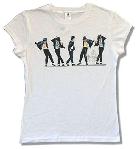 Real Swag Inc Michael Jackson Dancing Poses Image Girls Juniors White T Shirt (XL) - Michael Jackson Women T-shirts