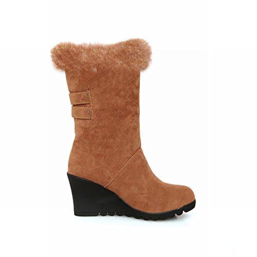 Dark Snow Carol Wedges Yellow calf Boots Mid Women's Shoes Buckles Fashion WF0TwFaSqz