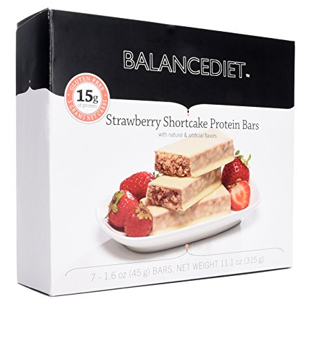 BalanceDiet™ | Protein Bar | 15g of Protein | Low Carb | 7 Bar Box (Strawberry Shortcake)