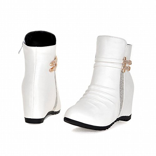 Latasa Womens Fashion Casual Pleated Ankle High Mid Wedge Boots with Straps and Zipper White xRZDi