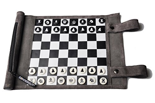 Genuine leather travel chess and checkers set by SONDERGUT by Sondergut
