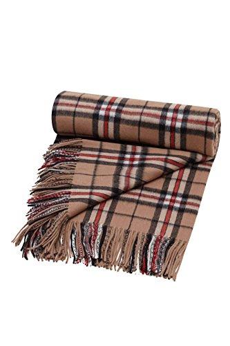(Shepherds Land 100% Lambswool Tartan Blanket Throw, Camel Thomson)