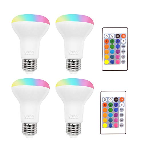 8W Color Changing Light Bulb, 4 Pack, LED Colored Light Bulbs E26 RGB 16 Colors Lamp with IR Remote Control for Home Decoration, Bar, Party, KTV, Holiday, Christmas Mood Lighting, Chener (Lamp Colored)