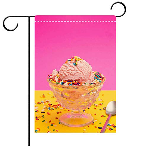 BEICICI Artistically Designed Yard Flags, Double Sided Simple Pink Ice Cream in a Crystal Sherbert Dish Decorative Deck, Patio, Porch, Balcony Backyard, Garden or Lawn (Sherbert Dish)