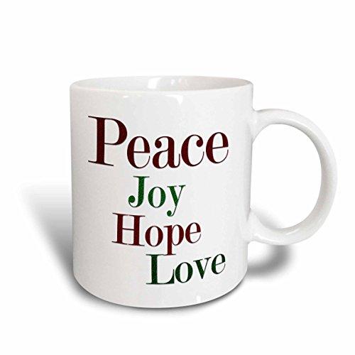3dRose mug_217194_2 Peace Joy Hope Love Words In Red and Green Glitter Effect - Ceramic Mug, 15-ounce